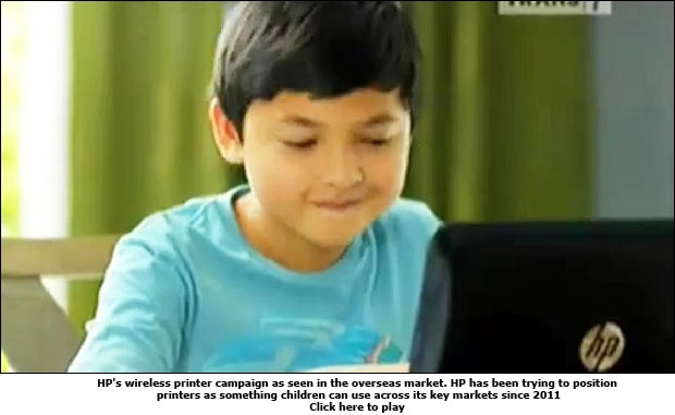 HP's wireless printer campaign as seen in the overseas market. HP has been trying to position printers as something children can use across its key markets since 2011