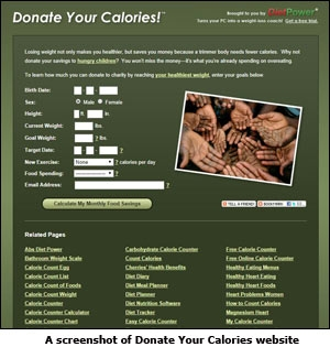 Donate your Calories website