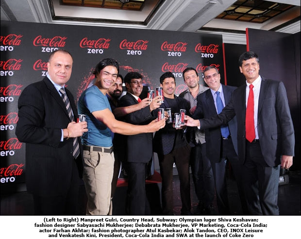 (Left to Right) Manpreet Gulri, Country Head, Subway; Olympian luger Shiva Keshavan; fashion designer Sabyasachi Mukherjee; Debabrata Mukherjee, VP Marketing, Coca-Cola India; actor Farhan Akhtar; fashion photographer Atul Kasbekar; Alok Tandon, CEO, INOX Leisure and Venkatesh Kini, President, Coca-Cola India and SWA at the launch of Coke Zero