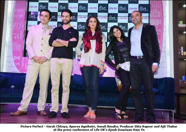 Picture Perfect - Harsh Chhaya, Apurva Agnihotri, Sonali Bendre, Producer Ekta Kapoor and Ajit Thakur at the press conference of Life OK's Ajeeb Daastaan Hain Ye