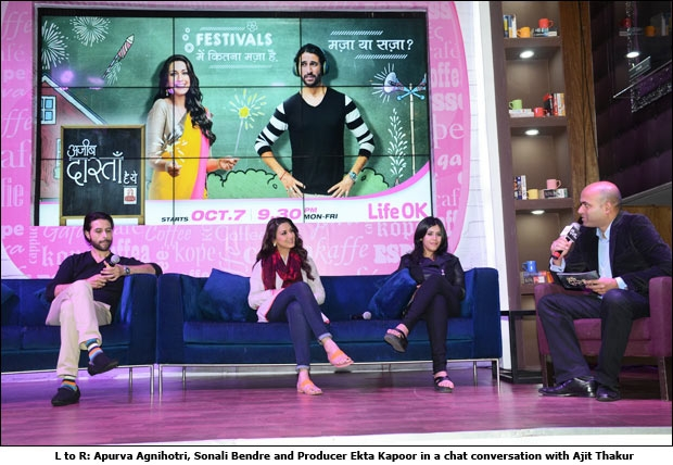 L to R: Apurva Agnihotri, Sonali Bendre and Producer Ekta Kapoor in a chat conversation with Ajit Thakur