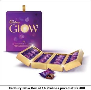 Cadbury Glow Box of 16 Pralines priced at Rs 400