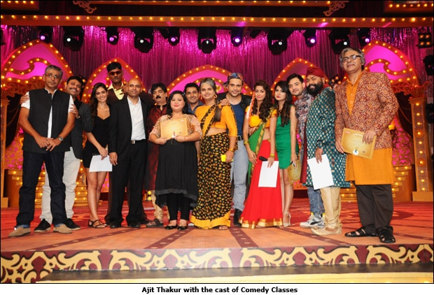 Ajit Thakur with the cast of Comedy Classes