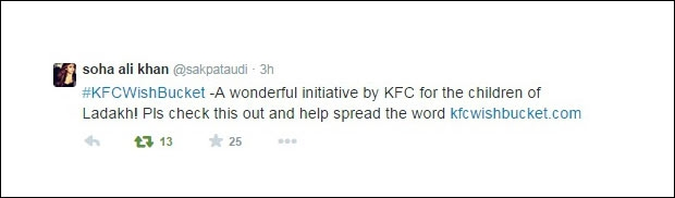 Celebrities support #KFCWishBucket Ladakh initiative on Twitter