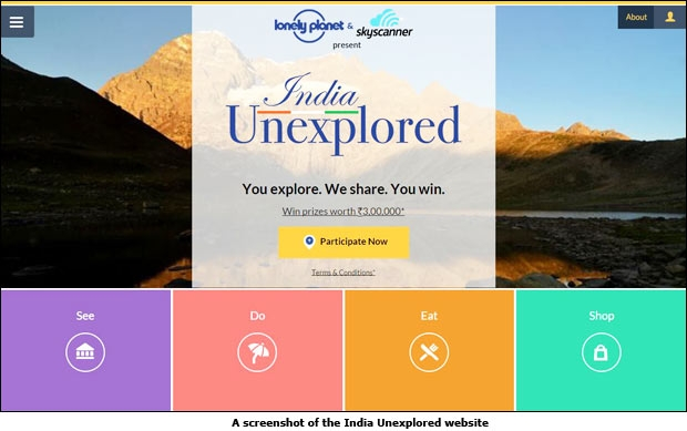 A screenshot of the India Unexplored website
