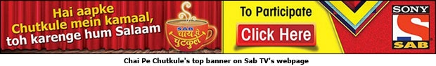 Chai Pe Chutkule's top banner on Sab TV's webpage