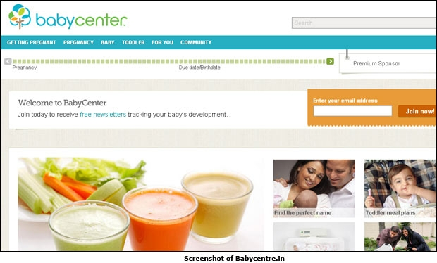 Screenshot of Babycentre.in