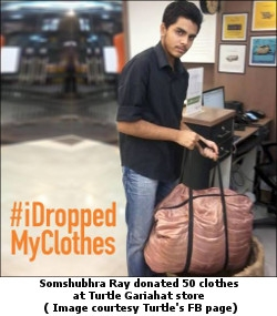 Somshubhra Ray donated 50 clothes at Turtle Gariahat store