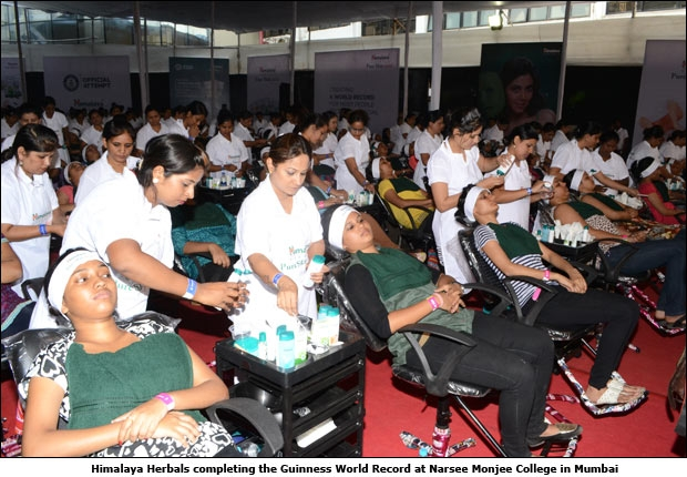 Himalaya Herbals completing the Guinness World Record at Narsee Monjee College in Mumbai