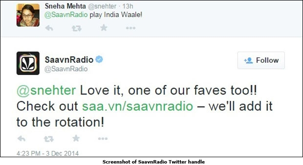 Screenshot of SaavnRadio Twitter handle