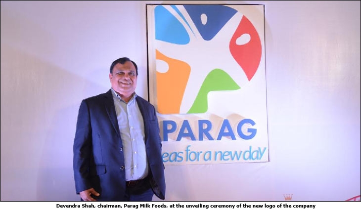 Devendra Shah, chairman, Parag Milk Foods at the unveiling ceremony of the new logo of the company