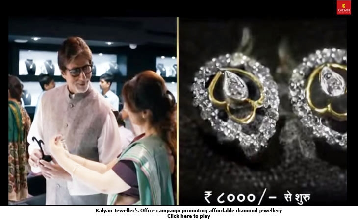 Kalyan Jeweller's Office campaign promoting affordable diamond jewellery