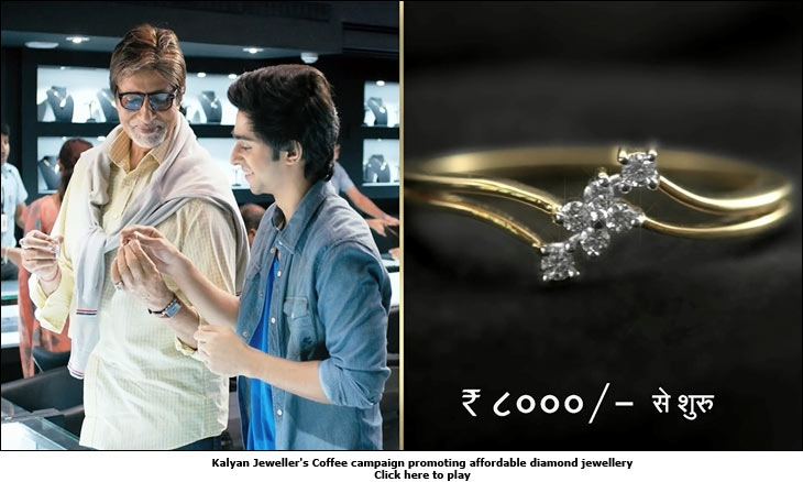 Kalyan Jeweller's Coffee campaign promoting affordable diamond jewellery