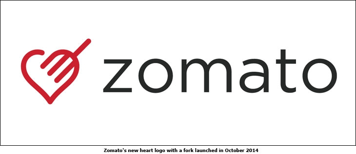 Zomato's new heart logo with a fork launched in October 2014