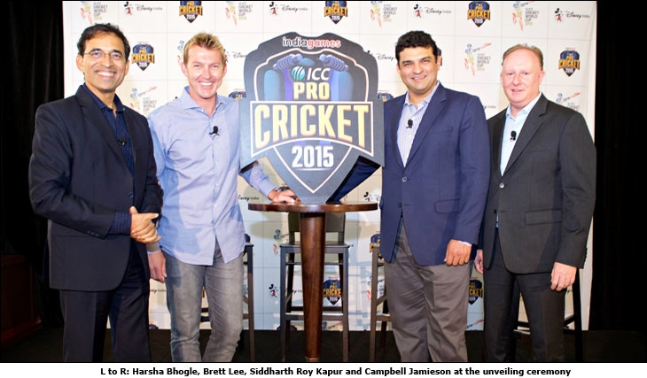 L to R: Harsha Bhogle, Brett Lee, Siddharth Roy Kapur and Campbell Jamieson at the unveiling ceremony