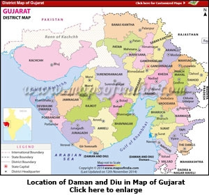 Location of Daman and Diu in Map of Gujarat