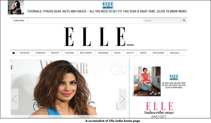 A screenshot of Elle India home page