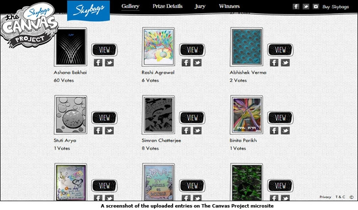 A screenshot of the uploaded entries on The Canvas Project microsite