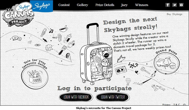 Skybag's microsite for The Canvas Project