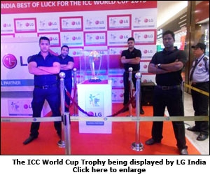 The ICC World Cup Trophy being displayed by LG India