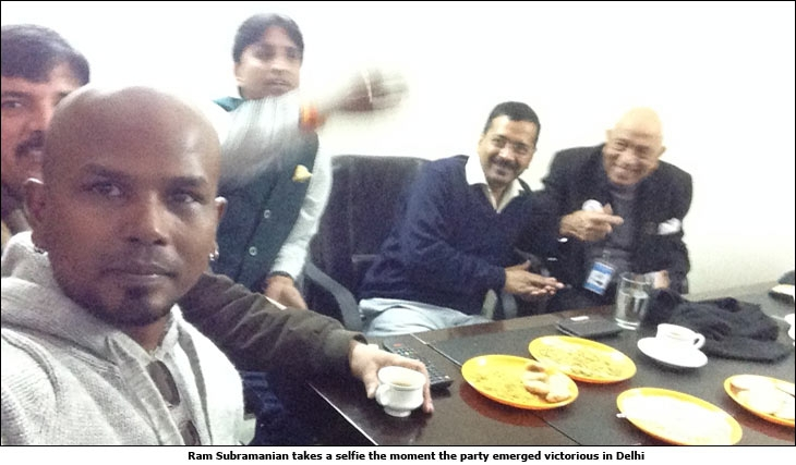Ram Subramanian takes a selfie the moment the party emerged victorious in Delhi