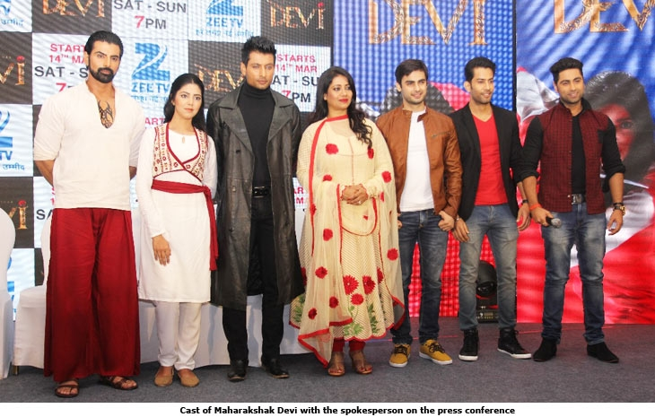 Cast of Maharakshak Devi with the spokesperson on the press conference