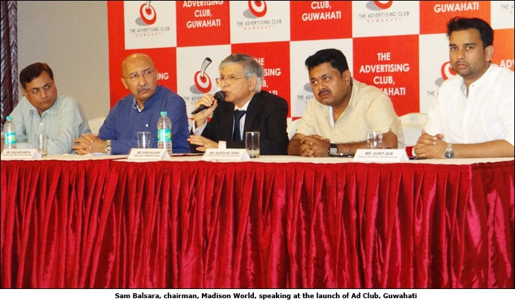 Sam Balsara, chairman, Madison World speaking at the launch of Ad Club, Guwahati