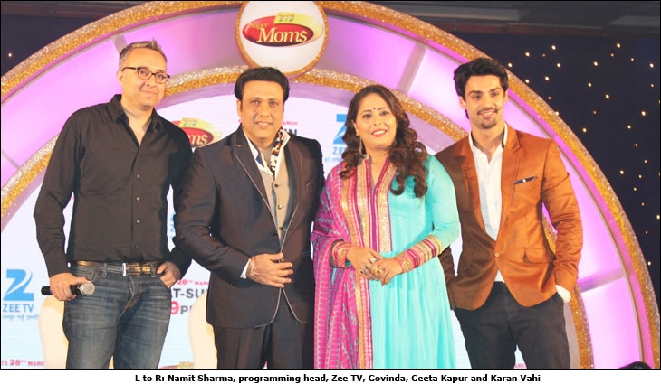 L to R: Namit Sharma, programming head, Zee TV, Govinda, Geeta Kapur and Karan Vahi