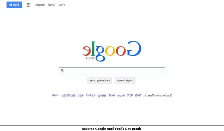 Reverse Google April Fool's Day prank