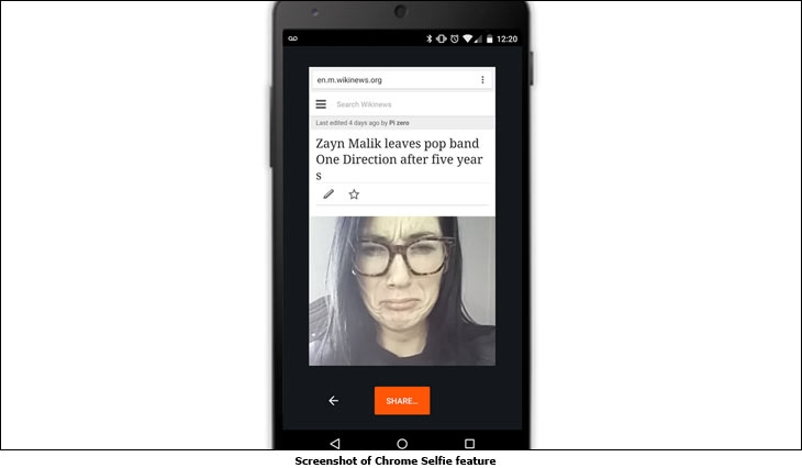 Screenshot of Chrome Selfie feature