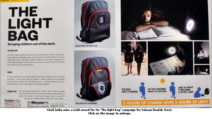 Cheil India has won a Gold for its 'The light bag' campaign for Salaam Baalak Trust