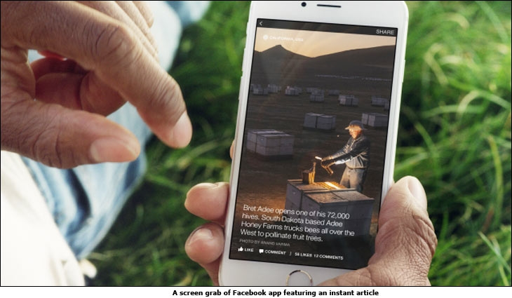 A screen grab of Facebook app featuring an instant article
