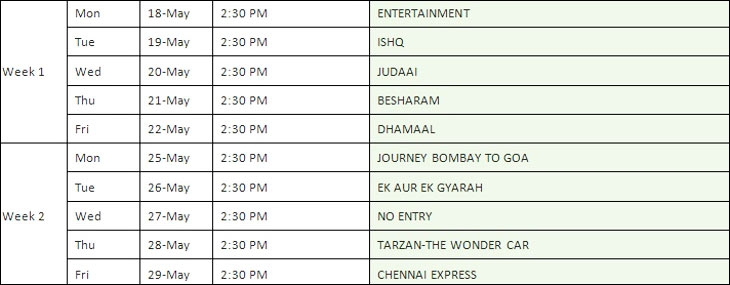 Movies to be aired on Zee Cinema
