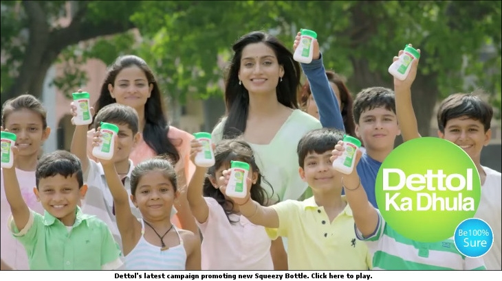 Dettol's latest campaign promoting new Squeezy Bottle