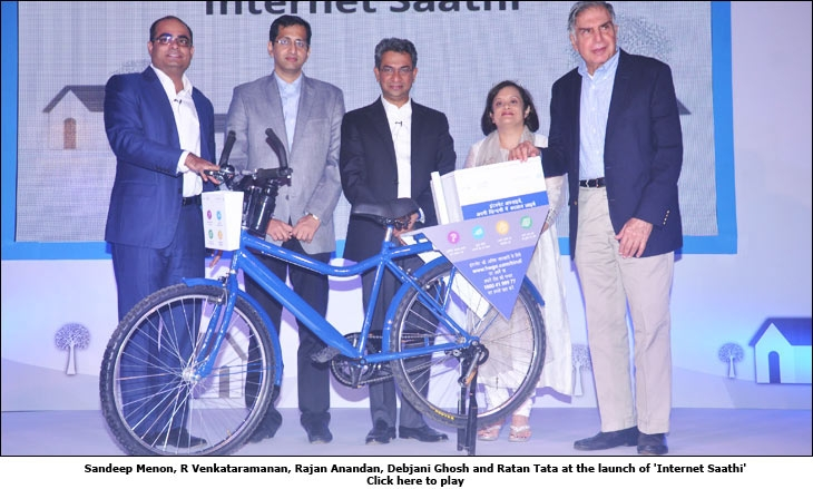 Sandeep Menon, R Venkataramanan, Rajan Anandan, Debjani Ghosh and Ratan Tata at the launch of 'Internet Saathi'