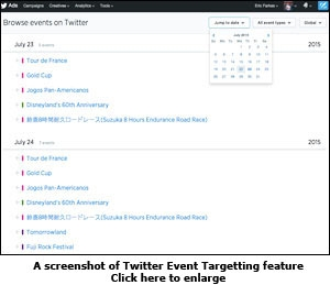 A screenshot of Twitter Event Targetting feature
