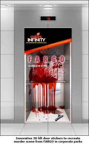 Innovative 3D lift door stickers to recreate murder scene from FARGO in corporate parks