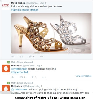 Screenshot of Metro Shoes Twitter campaign