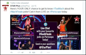 Screenshot of Periscope and Star Plus activity on Twitter