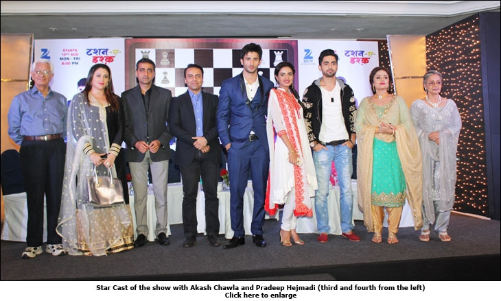 Star cast of the show with Akash Chawla and Pradeep Hejmadi (third and fourth from the left)