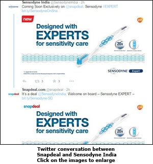 Twitter conversation between Snapdeal and Sensodyne India