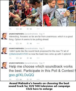 Anand Mahindra's tweets on choosing the best sound track for XUV 500 television ad campaign