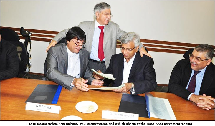 L to R: Noomi Mehta, Sam Balsara, MG Parameswaran and Ashish Bhasin at the IOAA-AAAI agreement signing