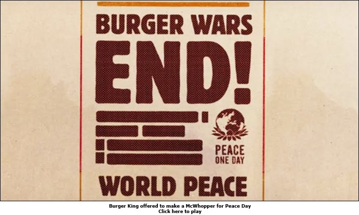 Burger King offered to make a McWhopper for Peace Day
