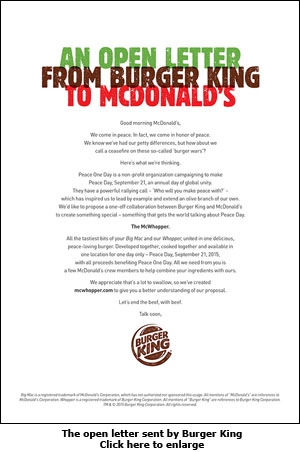 The open letter sent by Burger King