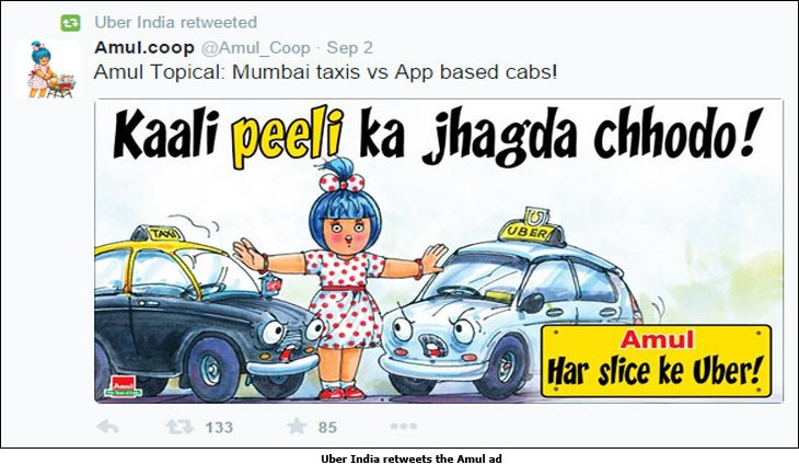 Uber India retweets the Amul ad