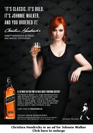 Christina Hendricks in an ad for Johnnie Walker