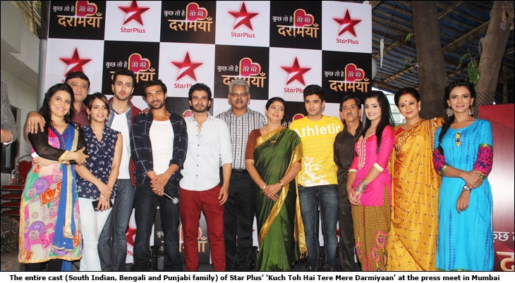 The entire cast (South Indian, Bengali and Punjabi family) of Star Plus' 'Kuch Toh Hai Tere Mere Darmiyaan' at the press meet in Mumbai