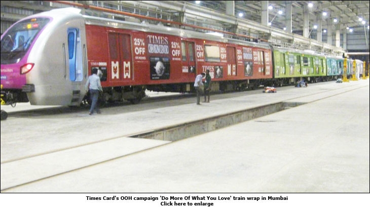Times Card's OOH campaign 'Do More Of What You Love' train wrap in Mumbai