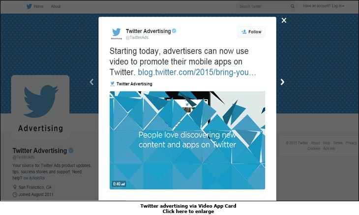 Twitter advertising via Video App Card